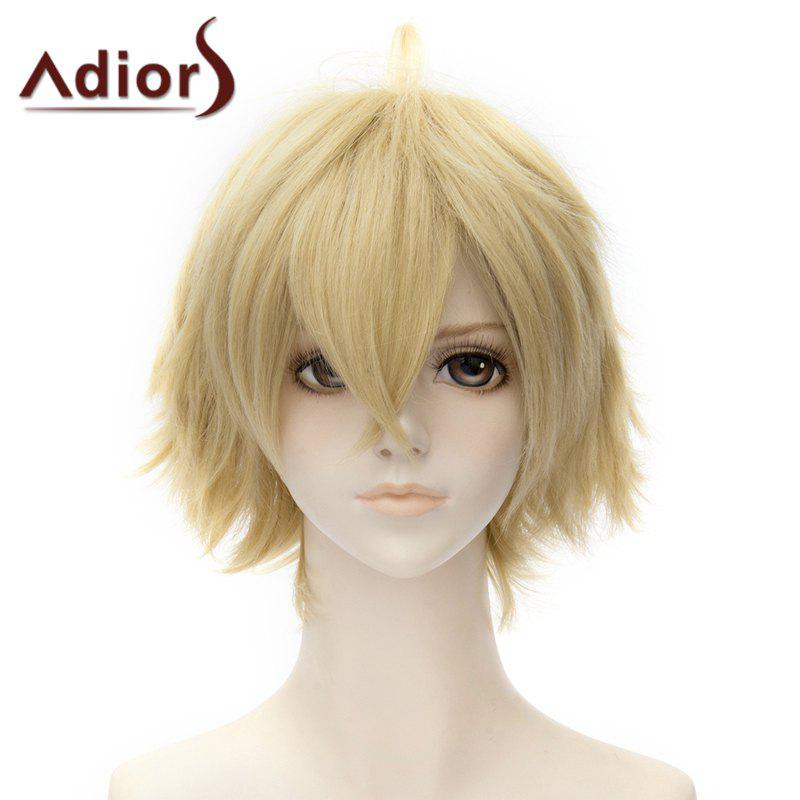 Fashion Fluffy Short Straight Side Bang Cosplay Costume Wig For Women - FLAX