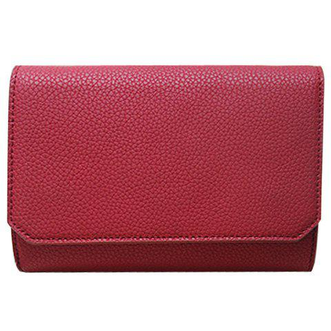 Simple PU Leather and Cover Design Crossbody Bag For Women - WINE RED