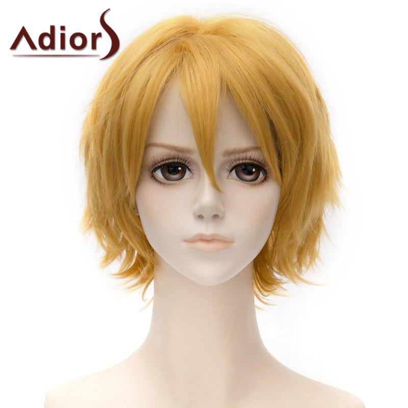 Fashion Fluffy Short Straight Side Bang Cosplay Costume Wig For Women - YELLOW