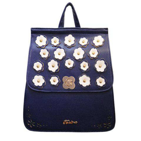 Fashion Flowers and PU Leather Design Backpack For Women - DEEP BLUE