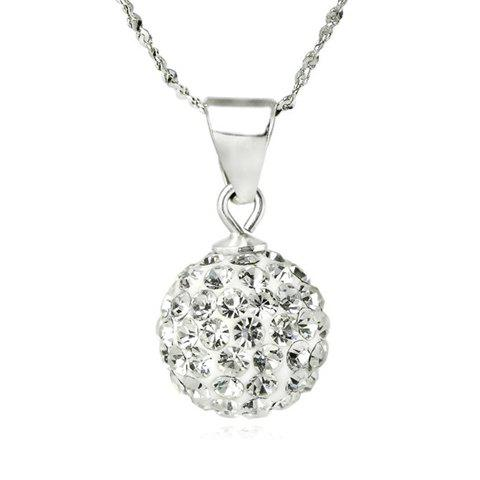 Ball Pendant Rhinestoned Necklace - SILVER