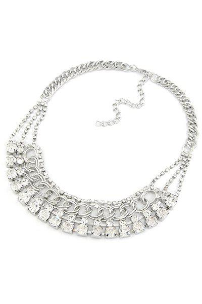 Delicate Faux Crystal Chunky Necklace For Women - SILVER