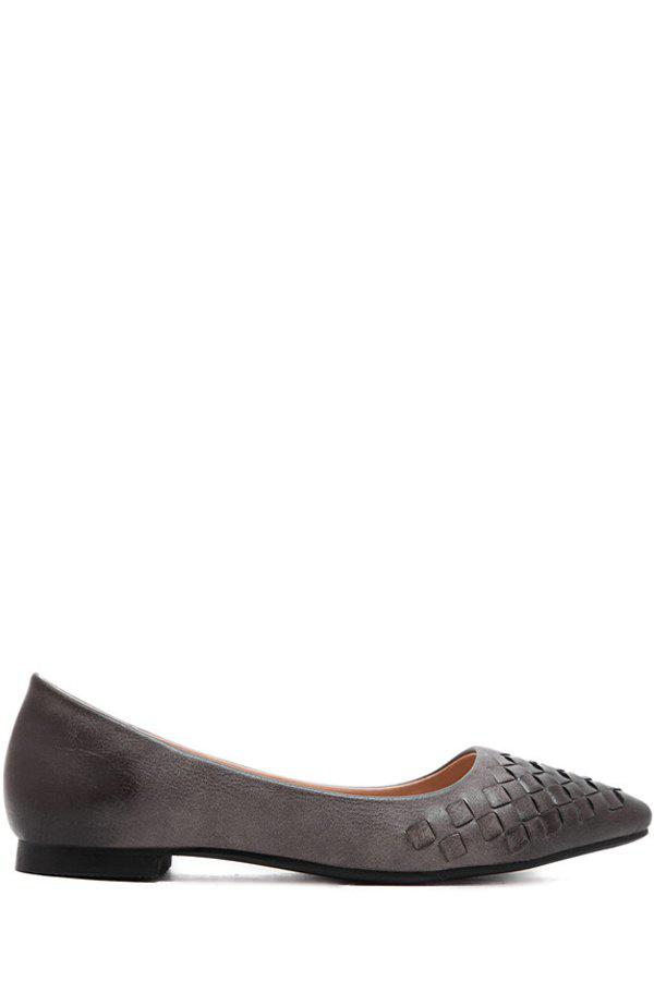 Leisure Weaving and Pointed Toe Design Flat Shoes For Women - GRAY 39
