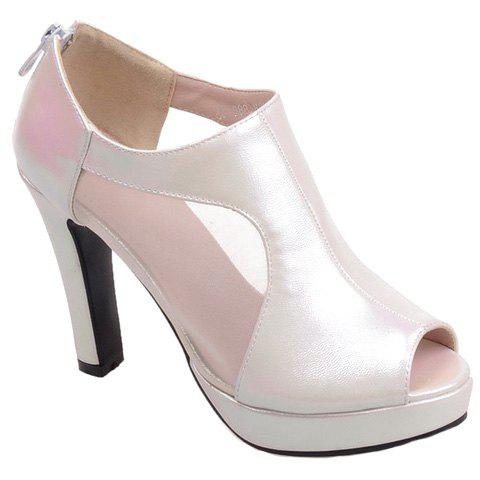 Simple PU Leather and Zipper Design Peep Toe Shoes For Women - WHITE 36