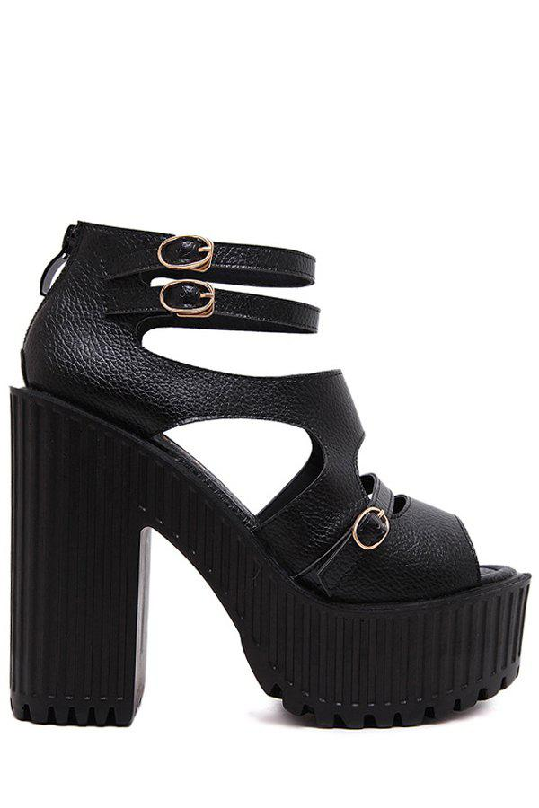 Stylish Peep Toe and Chunky Heel Design Sandals For Women - BLACK 38