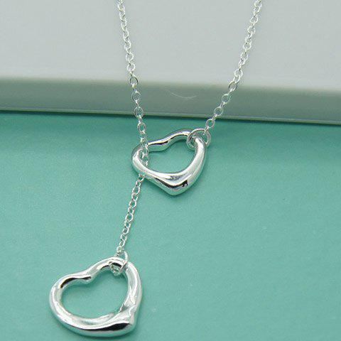 Hollow Out Heart Necklace - SILVER