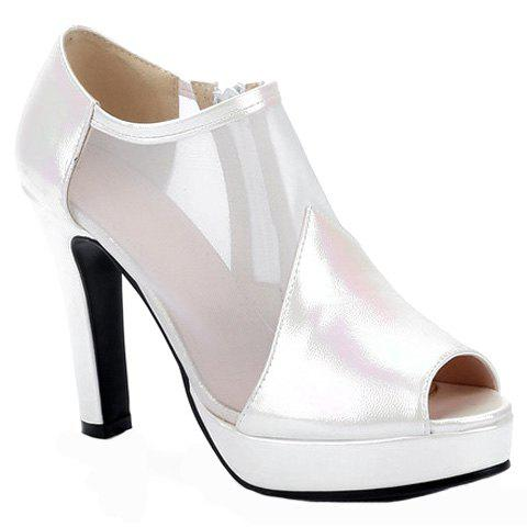 Trendy Zip and PU Leather Design Peep Toe Shoes For WomenShoes<br><br><br>Size: 38<br>Color: WHITE
