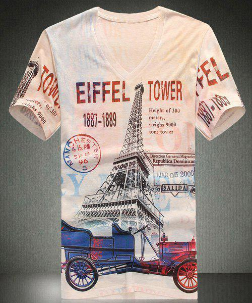 V-Neck Letters Print Eiffel Tower Pattern Short Sleeve Men's T-Shirt - WHITE M