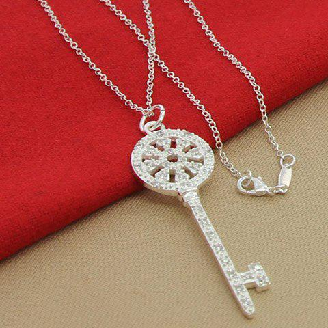 Rhinestoned Hollow Out Key Necklace - SILVER