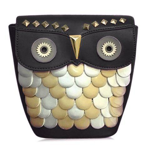 Cute Owl Pattern and Rivets Design Women's Crossbody Bag - BLACK