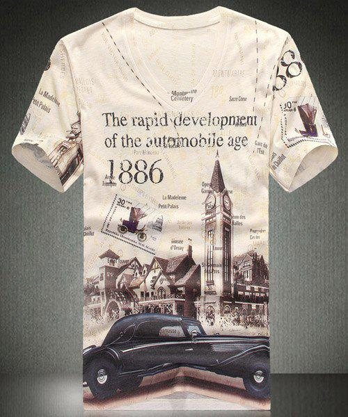 V-Neck Letters Print Car Pattern Short Sleeve Men's T-Shirt - OFF WHITE XL