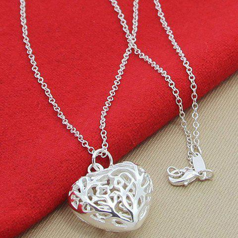Hollow Out Heart Shape Necklace - SILVER