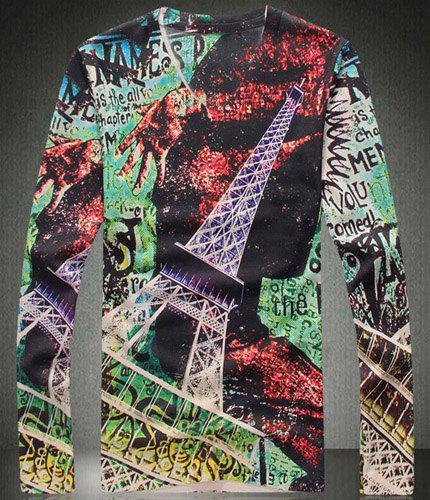 Mix Color V-Neck Eiffel Tower Pattern Long Sleeve Men's T-Shirt - COLORMIX 3XL