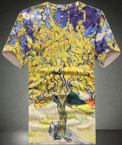 Stylish V-Neck Abstract Tree Pattern Print Short Sleeve Men's T-Shirt - COLORMIX 2XL