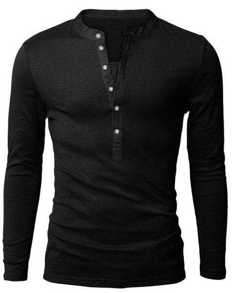 Casual Slim Fit Solid Color Half Button Long Sleeve T-Shirt For Men - BLACK XL