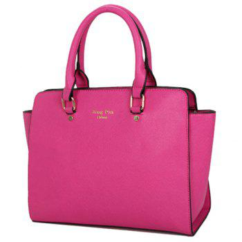 Gorgeous PU Leather and Letter Print Design Tote Bag For Women - BLUE
