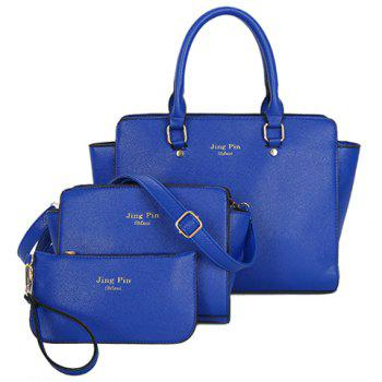Gorgeous PU Leather and Letter Print Design Tote Bag For Women - BLUE BLUE