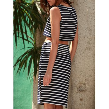 Stylish Sleeveless Crop Top and Striped Skirt Suit For Women - L L