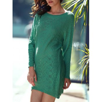 Refreshing Women's Scoop Neck Green Long Sleeve Dress