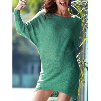 Refreshing Women's Scoop Neck Green Long Sleeve Dress - GREEN ONE SIZE(FIT SIZE XS TO M)
