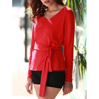 Stylish Red Long Sleeve V Neck Lace-Up Blouse For Women - RED S