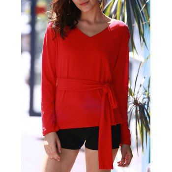 Stylish Red Long Sleeve V Neck Lace-Up Blouse For Women