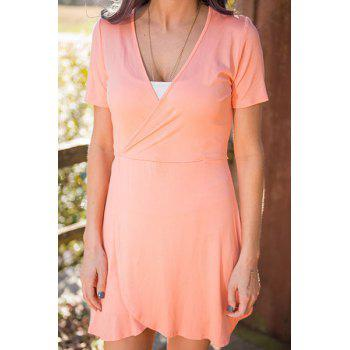 Plunging Neck Short Sleeve Solid Color Wrap Dress
