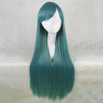 Attractive Silky Straight Blackish Green Long Side Bang Synthetic Cosplay Wig For Women