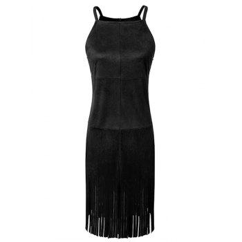 Spaghetti Strap Sleeveless Fringed Dress For Women