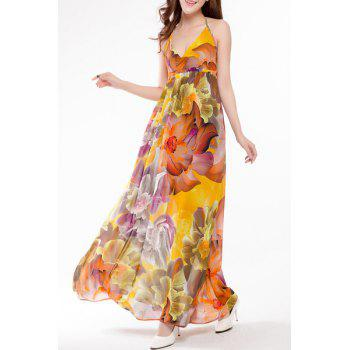 Sweet Halter Colorful Floral Print High Waist Maxi Dress For Women
