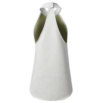 Sexy Sleeveless Stand Collar Pure Color Women's Dress - WHITE L