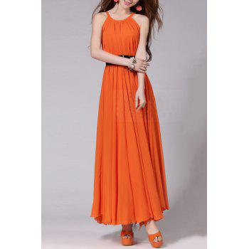 Spaghetti Strap Sleeveless Solid Color Self Tie Belt Beach Dress