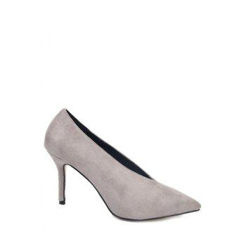 Trendy Flock and Pointed Toe Design Pumps For Women