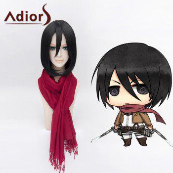 Ladylike Lolita Bob Style Mikasa Ackerman Straight Cosplay Wig For Women