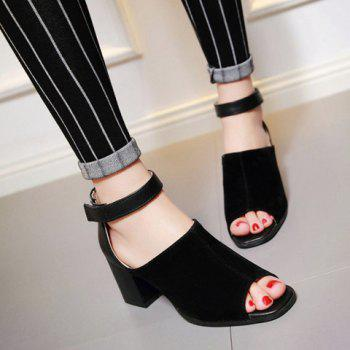 Fashion Chunky Heel and Peep Toe Design Sandals For Women - BLACK 39