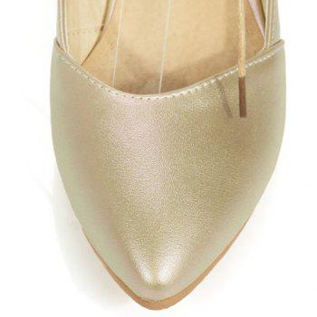 Graceful Pointed Toe and PU Leather Design Flat Shoes For Women - GOLDEN GOLDEN