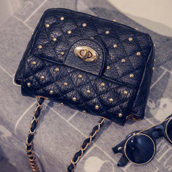 Trendy Rivets and PU Leather Design Crossbody Bag For Women - BLACK