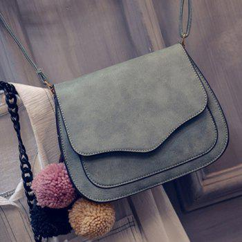 Simple Cover and PU Leather Design Crossbody Bag For Women - GREEN