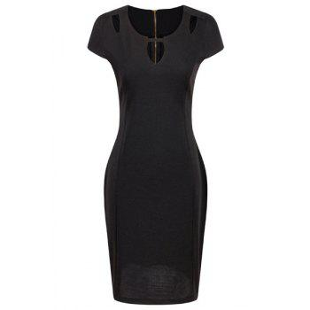 OL Women's Jewel Neck Short Sleeve Hollow Pencil Dress