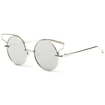 Chic Hollow Cat Ear Shape Embellished Metal Frame Women's Sunglasses - SILVER
