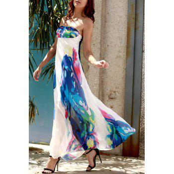 Strapless Swing Ankle Length Floral Maxi Dress