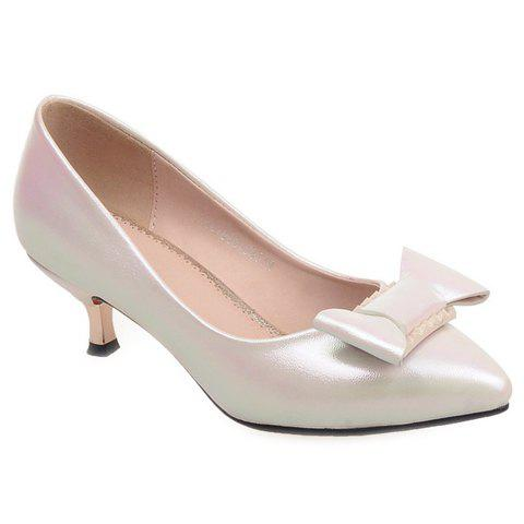 Sweet Bowknot and PU Leather Design Pumps For Women - OFF WHITE 38