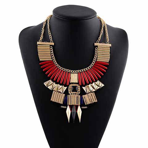 Vintage Faux Gemstone Geometric Hollow Out Pendant Necklace For Women - RED