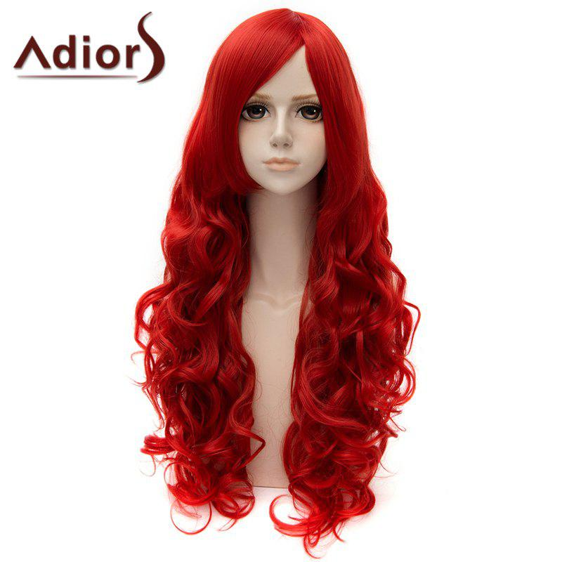 Fashion Long Side Bang Curly Cosplay Wig For Women - RED
