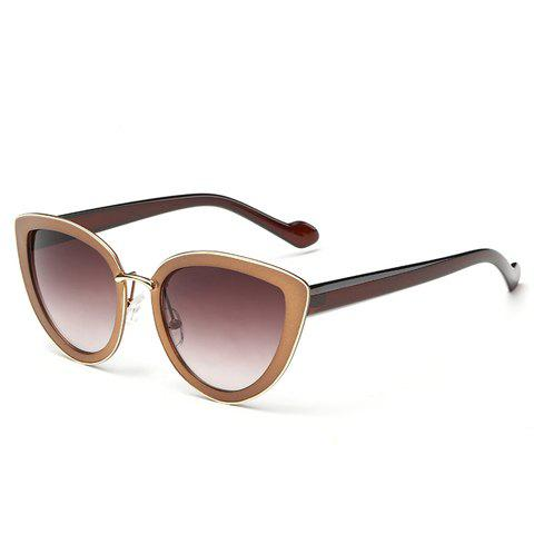 Chic Cat Eye Shape Frame Splicing Metal Women's Sunglasses -  TEA COLORED