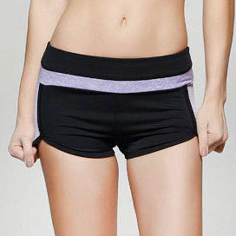 Active Women's Color Block High Stretchy Gym Shorts - PURPLE M