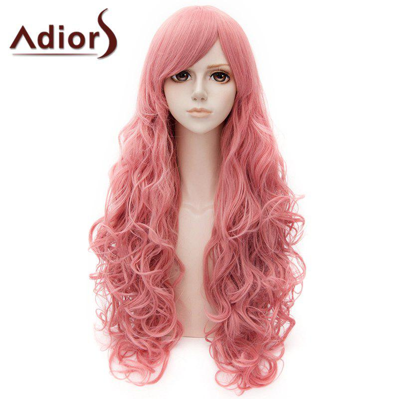 Ladylike Long Side Bang Curly Cosplay Wig For Women - PINK