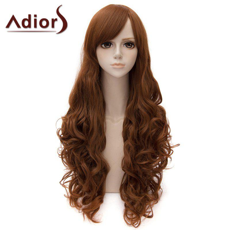 Ladylike Side Bang Long Curly Cosplay Wig For Women - BROWN