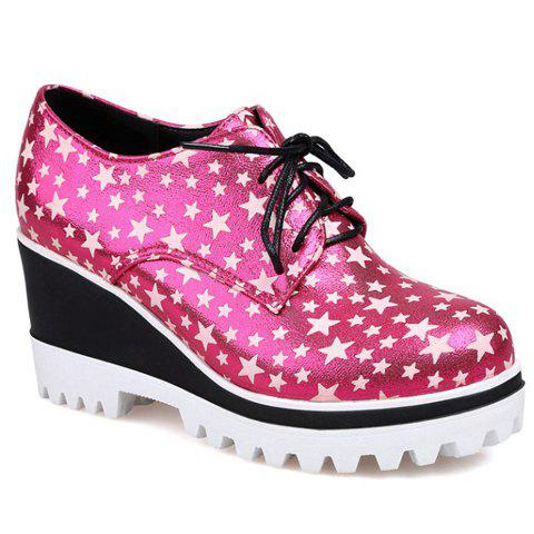 Fashionable Stars Print and PU Leather Design Wedge Shoes For Women - ROSE 37