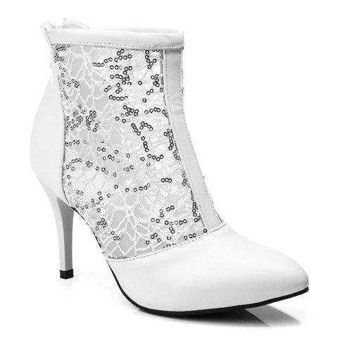 Ladylike Sequins and Pointed Toe Design Short Boots For Women - WHITE 35